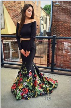 Long Sleeves Prom Dresses,Black Prom Dresses,Mermaid Two Pieces