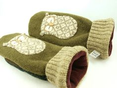 Owl Mittens Felted Wool in Green Grey Beige and Natural White with Owl Applique Leather Palm Eco Friendly Upcycled Size M/L