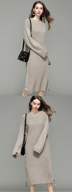 0cd819508e9 Vinfemass Solid Color Lace Up Loose Sweater Dress