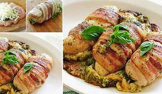 Pečené kuřecí závitky s pestem a slaninou