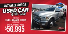 Withnell Dodge in Salem, Oregon - Used Car of the Week. 2014 Ram 3500 Laramie Crew Cab Truck!  Leather seats, moonroof, navigation, great power, and more! Don't miss out.