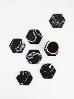 DIY-Black-Marble-Hexagon-Coasters