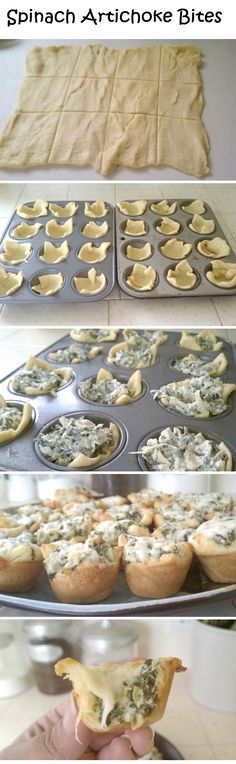 Makes my mouth water every time I see these ooey gooey babies, have to try making them soon! Spinach Artichoke Bites #tailgating #appetizer #party