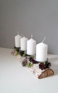 DIY Decorating Ideas For Christmas - jihanshanum Natural Christmas, Modern Christmas, Winter Christmas, Christmas Home, Christmas Crafts, Christmas Decorations, Xmas, Christmas Advent Wreath, Christmas Candles