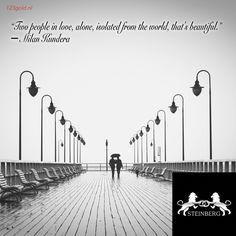 """Het is weer tijd voor inspiratie!  """"Two people in love, alone, isolated from the world, that's beautiful."""" ― Milan Kundera  Kent u een mooie, liefdevolle quote die u graag op vergelijkbare manier ziet gepresenteerd? Laat het ons weten!  #tagyourlover #lovequote #love #marriage #wedding #weddingrings #gold #diamonds #steinberg #123gold #steinbergnl #123goldnl"""