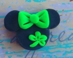 Polymer Clay St Pattys Mouse Bow Center Flat back SALE