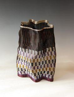 "Loom woven vessel,copper wire in warp & weft,bound weaving technique,12x8"""