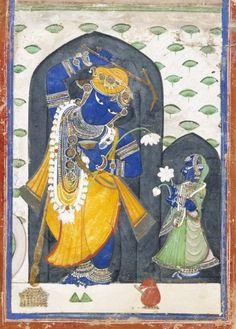 Revati (R) with her husband Balarama (Krsna's older brother). late 19th C. Nathadwara, India.