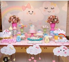 35 Creative Baby Shower Themes and Decor Ideas - Free Life Style Rainbow Birthday, Unicorn Birthday Parties, Unicorn Party, Baby Birthday, Baby Party, Baby Shower Parties, Baby Shower Themes, Baby Shower Decorations, Cloud Party