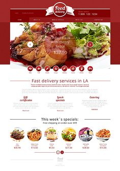 Template 49565 - Food Delivery  Responsive Website Template