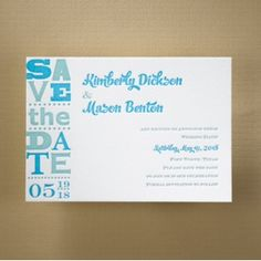 Dozens of Fabulous Wedding Save The Date Cards – All at a 15% Discount:   Modern Tradition – Letterpress Save the Date