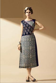 Click On Bazaar Grey & Blue Colored Faux Georgette Kurti.