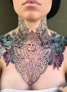 Celebrate Femininity With 50 Of The Most Beautiful Lace Tattoos You've Ever Seen - KickAss Things Lace Tattoo, Tattoo You, Tribal Tattoos, Neck Tattoos, Polynesian Tattoos, Throat Tattoo, Chest Tattoo, Body Modifications, Tattoo Drawings