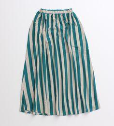 PAR ICI striped cotton/hemp skirt