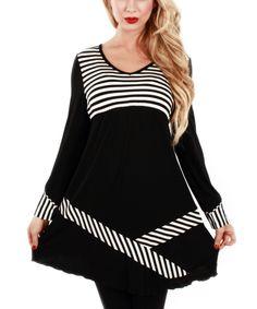 Loving this Jasmine Black & White Stripe V-Neck Tunic on #zulily! #zulilyfinds