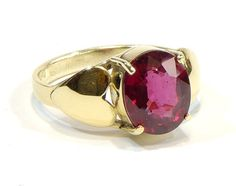 Natural rhodolite garnet yellow 14k gold heart by Majlagalery