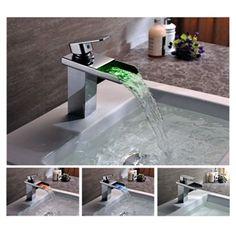 LED Messing Wasserfall LED Einhebel-Waschtischarmatur verchromt Wasserkraft