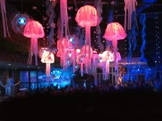FLUXX Nightclub: Aquatic Theme: Jelly Fish Lights made of Plotter-Cut Backlit Plastic over Existing Lights by Anna Sindelar. Seaweed and bubbles. Ocean Sea Party Decor.