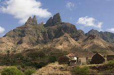 Rocky landscape with farm buildings, Santiago, Cape Verde, Kaapverdie
