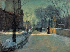 Winter in 19C America - Paul Cornoyer (American artist, 1864-1923)