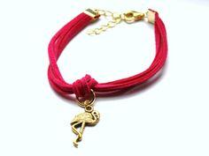 Różowa bransoletka z flamingiem w Especially for You! na http://pl.dawanda.com/shop/slicznieilirycznie #DaWanda #biżuteria #jewellery #jewelry #Schmuck #bransoletka #Armband #bracelet #handmade   #rzemienie #straps
