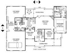 Farmhouse Style House Plan - 4 Beds 2.5 Baths 2705 Sq/Ft Plan #11-227 Floor Plan - Main Floor Plan - Houseplans.com