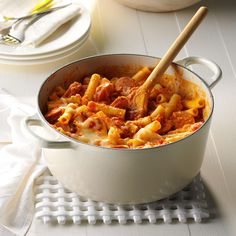 Fire-Roasted Ziti with Sausage Recipe- Recipes Escape from the ordinary! Smoked sausage and fire-roasted spaghetti sauce add nice flavor to this pasta dish. Look for fire-roasted sauce on the shelf with traditional spaghetti sauces. Dutch Oven Recipes, Italian Recipes, Cooking Recipes, Dutch Oven Meals, Italian Dishes, Sausage Recipes, Casserole Recipes, Hamburger Recipes, Chicken Recipes