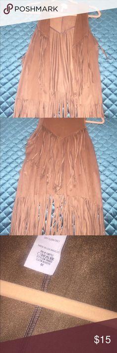 Brown fringe suede vest Camel color fringe suede vest! Never worn. Perfect condition. Size medium. Jackets & Coats Vests