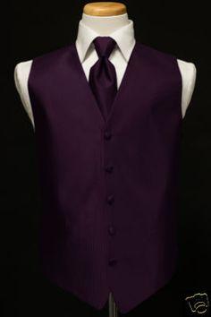 black tux with purple vest and tie | ... : New Medium Raisin Purple tuxedo vest LONG tie ALL SIZES