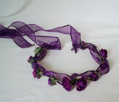 Purple Flower Crown Hair Accessories Purple Passion by AmoreBride, $52.00