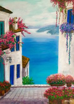 What is Your Painting Style? How do you find your own painting style? What is your painting style? Acrylic Painting Inspiration, Acrylic Painting Tutorials, Acrylic Painting Canvas, Watercolor Landscape, Landscape Paintings, Watercolor Paintings, Wine Painting, Painting & Drawing, Greece Painting