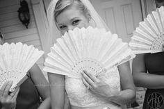 Bride with fan - wedding Amber Ford Photography