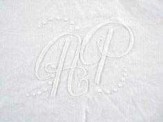 610 Vintage Big DOUBLE MONOGRAM AP in White by PomerolSupplyShop