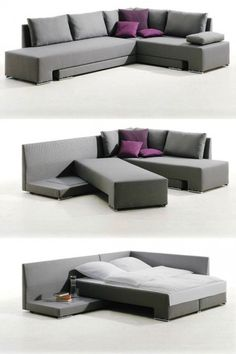 20 Pieces of Convertible Furniture You'll Actually Use Corner Suite Vento (price upon request): Here's a spacious corner couch that can easily be transformed into one double bed or two twin beds, making it the perfect piece for those who love to entertain