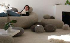 Coussin Hervé - Livingstones version en laine pour l'intérieur - 41x36 cm Gris clair - 41 x 36 cm / H 23 cm - Smarin