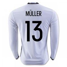 Tyskland 2016 Muller 13 Hjemmebanetrøje Langærmet.  http://www.fodboldsports.com/tyskland-2016-muller-13-hjemmebanetroje-langermet-1.  #fodboldtrøjer