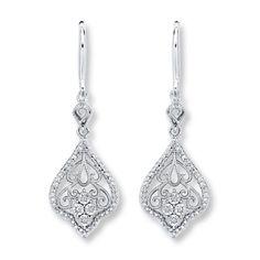 DROP EARRINGS DIAMOND ACCENTS STERLING SILVER - $139