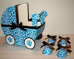 Turquoise Blue Giraffe w/Chocolate Ribbon Baby Carriage Centerpiece w/ 10 Favor Box Shoes. $34.00, via Etsy.