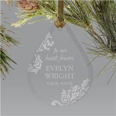 Our engraved in memory of Personalized Memorial Ornaments are a lovely way to honor someone's memory this holiday season. Each one comes customized in honor of your loved one who has passed away. Memorial Ornaments, Christmas Tree Ornaments, Diy Ornaments, Ball Ornaments, Personalized Memorial Gifts, Remembrance Gifts, Beautiful Christmas Trees, Angels In Heaven, Sympathy Gifts
