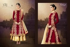 Very Classy and Rich Maroon and Beige Floor Length Semi-stitched Velvet Double Layer Anarkali Dress with Heavy Hand and Machine Work. Comes along with Santoon Bottom and Inner and Net Dupatta.