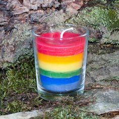 #rainbow #candle Pillar Candles, Shot Glass, Rainbow, Tableware, Rain Bow, Rainbows, Dinnerware, Tablewares, Dishes