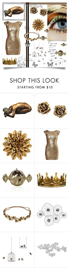 """""""Golden Babe"""" by alongcametwiggy ❤ liked on Polyvore featuring Tiffany & Co., AX Paris, Judith Leiber, Seletti, Jennifer Behr, Polaroid, Percival and ferm LIVING"""