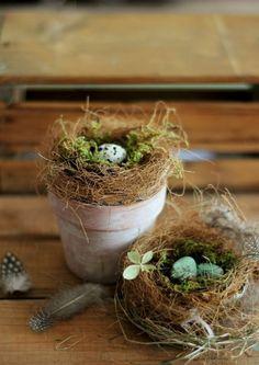 Ideenreiche Osterdekoration im Übertopf Nest basteln