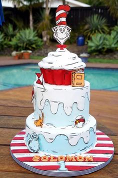 """This is my son Solomon's first birthday cake. His party was Dr. Seuss themed but his cake was all about """"The Cat In The Hat"""". It was one of his first books and I thought it would be a really cool theme for a cake. I have seen other Cat In The Hat. Dr Seuss Birthday Party, Circus Birthday, 1st Birthday Parties, Birthday Cakes, 2nd Birthday, Dr Suess Cakes, Cat In The Hat Party, Fantasy Cake, Hat Cake"""