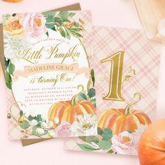 Sunflower Autumn Party Celebration Turning One Invite L2-05 Orange Pumpkin Our Little Pumpkin Birthday Invitation