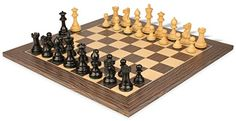 Parker Staunton Chess Set Ebonized  Boxwood Pieces 375 King with Tiger Ebony Deluxe Chess Board * See this great product.