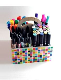 - mosaic on wooden tool tote Tool Tote, Art Supplies, Crafts For Kids, Creations, House Design, Organization, Homemade, Crafty, Crafts