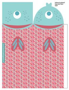 Kids treat; fish boxes template. A school of fish with a fishing rod. Cute!!