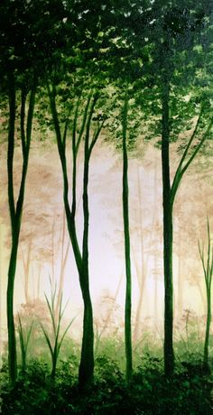 """Original artwork """"Lost"""" Acrylic on Canvas - Green lush forest - nature painting - Trees - Art by J Newell"""