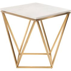Nuevo Jasmine White Marble and Gold Stainless Steel Side Table (2.665 RON) ❤ liked on Polyvore featuring home, furniture, tables, accent tables, modern table, gold side table, nuevo, modern end table and stainless table